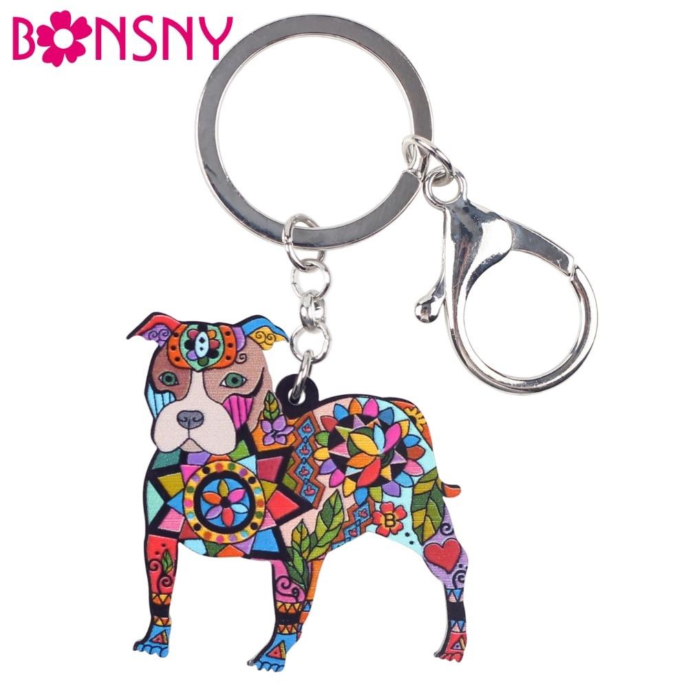 Bonsny Acrylic Dog Jewelry Boston Terrier Pit Bull Key Chain Key Ring Pom Gift For Women Girl Bag Charm Keychain Pendant Jewelry