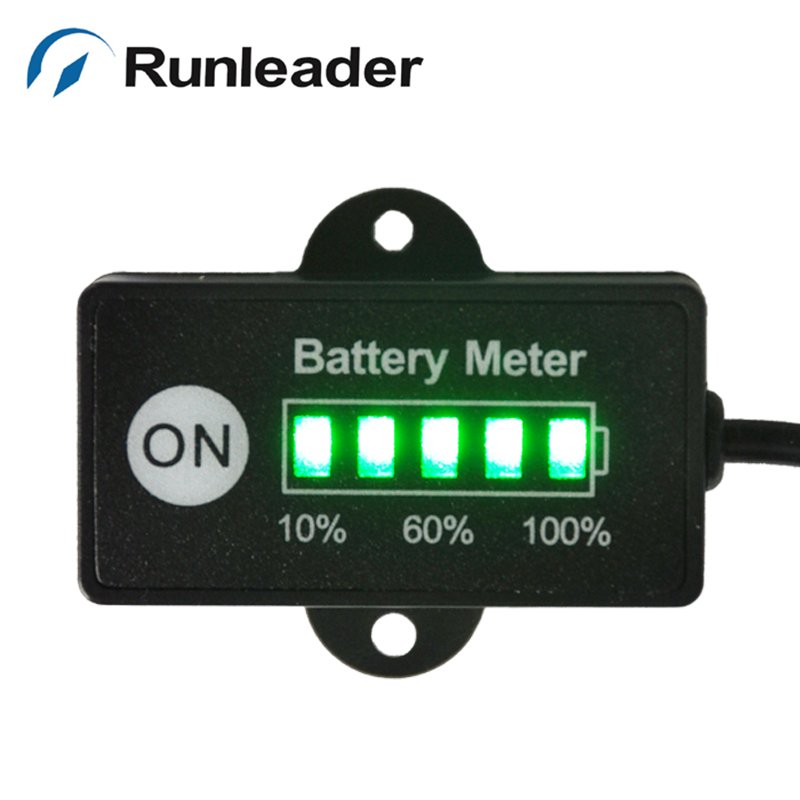 LED 5 BAR display mini battery meter battery indicator 12/24V for motorcycle golf carts car marine ATV test voltage of battery