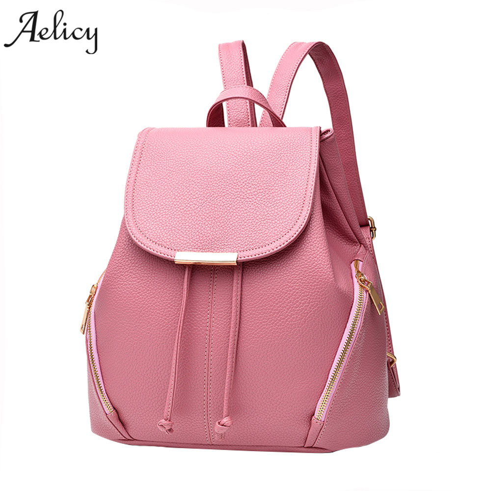 Aelicy Women Leather Backpacks High Quality PU Bagpack Mochila Feminina Rucksack backpack female fashion travel bag