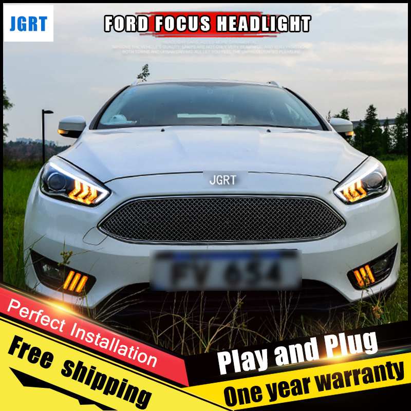 2PCS Car Style LED headlights for Ford Focus 2015- for Focus head lamp LED DRL Lens Double Beam H7 HID Xenon bi xenon lens hireno headlamp for 2011 2015 hyundai sonata headlight assembly led drl angel lens double beam hid xenon 2pcs