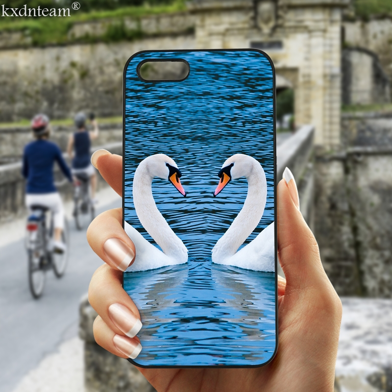 Cute Animal Swans Cell Phone Case Hard Anti-knock Cover Fitted for iphone 8 7 6 6S Plus X 5S 5C 5 SE 4 4S iPod Touch 4 5 6 Shell
