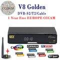 Melhor Preço V8 super FREESAT Receptores de Tv Sintonizador DVB-S2 Decodificador Receptor de Satélite Suporte Full HD 1080 p powervu ccam bisskey IPTV