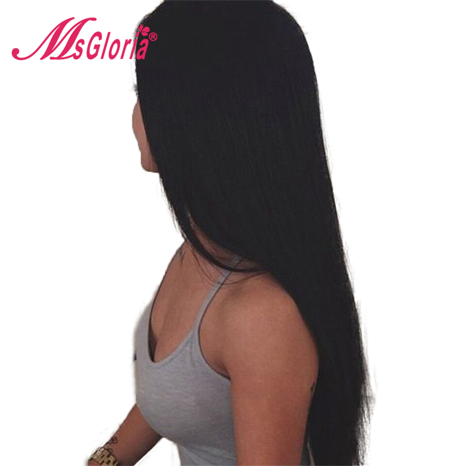 Msgloria Straight Remy Hair Pre Plucked Hairline 150% Density Full Lace Human Hair 4*4 Silk Top Wigs With Baby Hair Full End