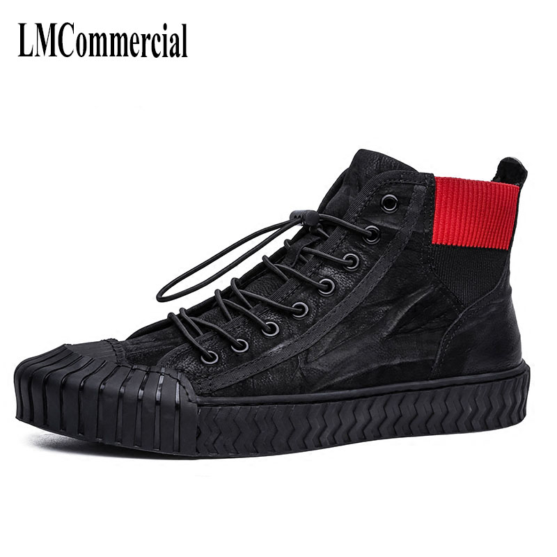 men High leather shoes, autumn winter British retro men's shoes trend of Korean male leisure shoes breathable sneaker fashion 2017 new autumn winter british retro zipper leather shoes breathable sneaker fashion boots men casual shoes handmade