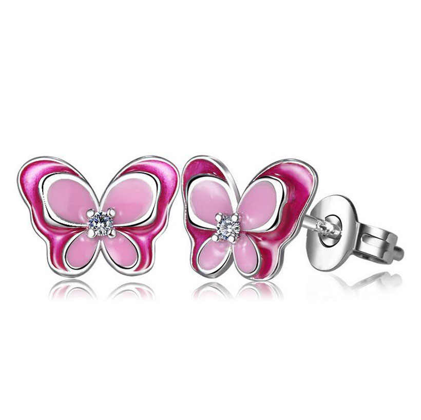Children Fashion 925 Silver Pink Enamel Butterfly Small Stud Earrings for Baby Kids Girls Women Cute Party Earring Jewelry ED195