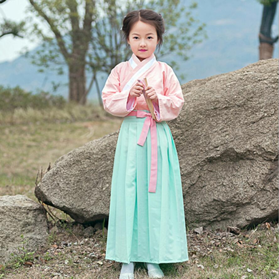 Kids Girl Chinese Hanfu Traditional Costume Girl Tang Folk Dance Clothing for Performance Top with SkirtKids Girl Chinese Hanfu Traditional Costume Girl Tang Folk Dance Clothing for Performance Top with Skirt