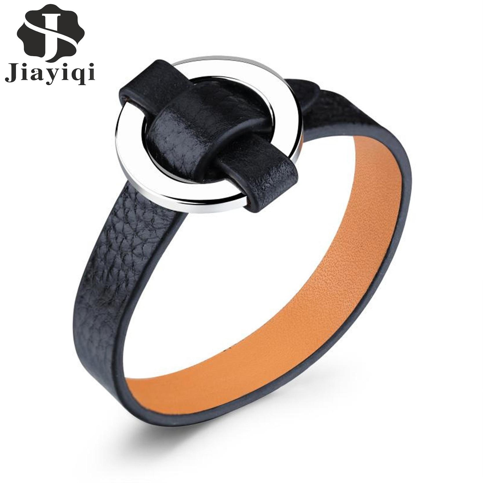 jiayiqi fashion black leather bracelet for women men round stainless steel bracelets bangles. Black Bedroom Furniture Sets. Home Design Ideas