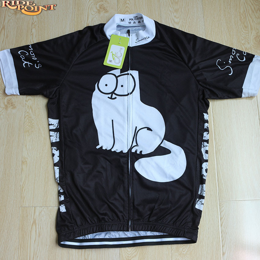 Simon s cat MEOW Cat Men Cycling Jerseys Black Short Sleeve 100%Polyester  Bike Clothes Summer Quick Dry Cycling Wears Shirt Ropa 7bbfa6723