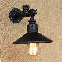 Loft 4 interruptor de toque cor preta de ferro tubulação de Água do vintage parede lâmpadas de leitura com led/edison e27 luz sconce para casa café bar