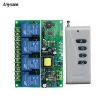 Wireless 4CH Rf 433 315 MHz Remote Control Switch AC220 V 30 A Radio Remote Switch