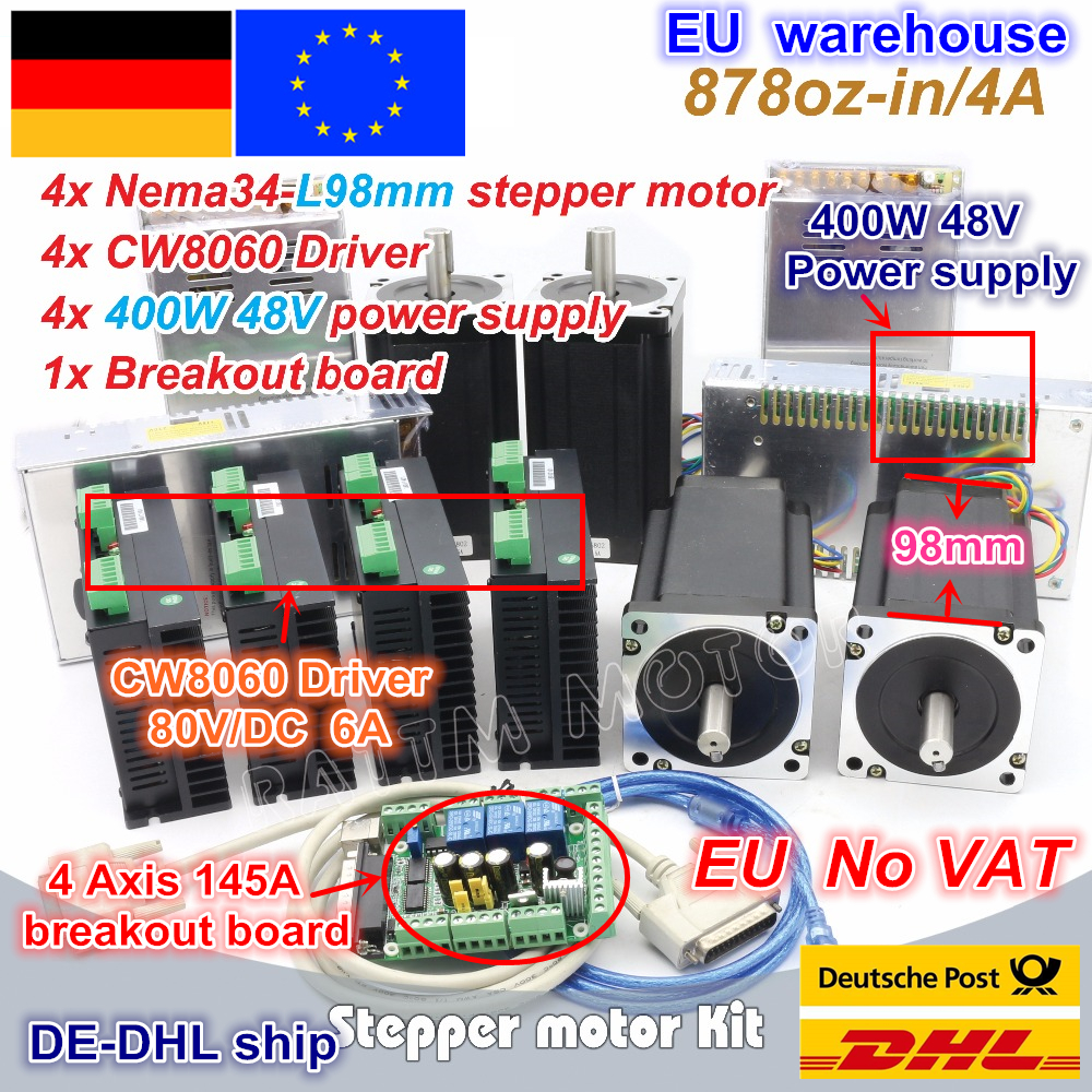 DE 4Axis CNC controller Kit NEMA34 878oz in stepper motor Single shaft CW8060 Driver 6A 80V