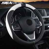 pu leather Universal 37 38cm Car Steering Wheel Cover 5 Colors PU Leather Anti-slip Auto Steering-wheel Covers Sports Car Styling Interior (1)