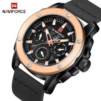 bd5d501d2aa9 Relojes de cuarzo para hombre marca de lujo NAVIFORCE reloj de pulsera de  cuero deportivo a