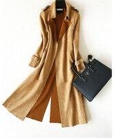 Spring Autumn Women Trench Coat 2019 New Fashion Temperament Waist Slim Deerskin Velvet Long Windbreaker Coat RE2506