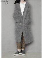 Новый Для женщин зима норки кашемира пальто кардиган женский толстый свитер с v образным вырезом вязать Свободные Длинные Бесплатная доста