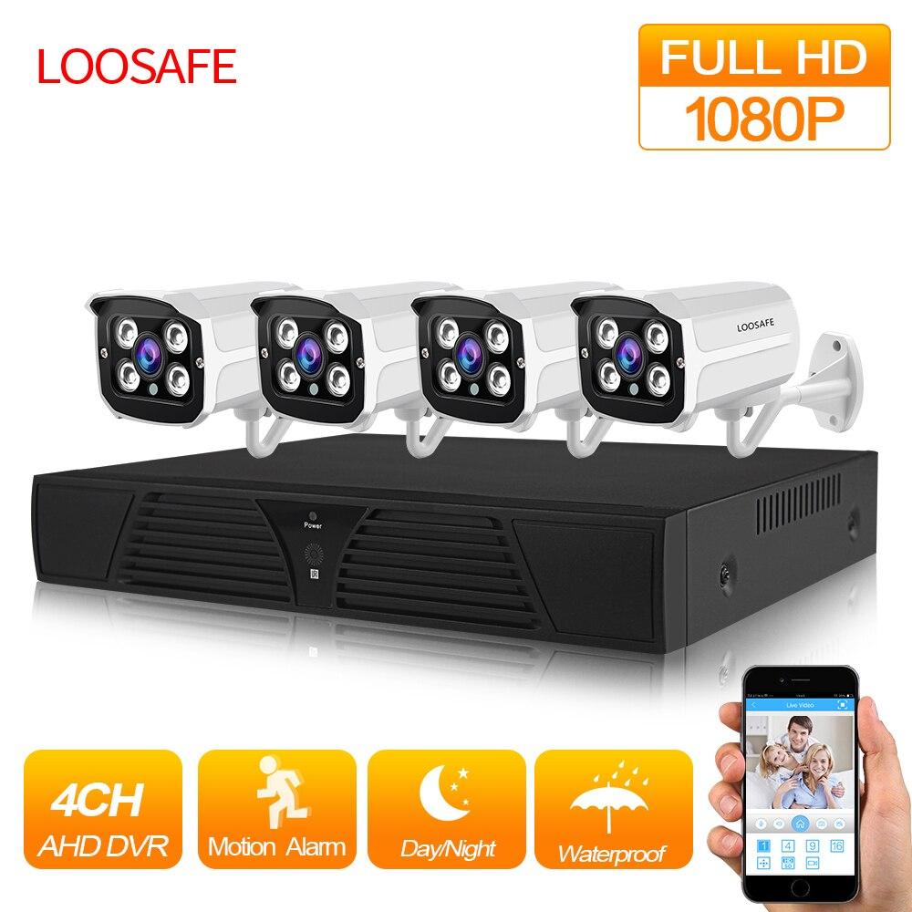 LOOSAFE 4CH CCTV Système 2MP HDMI AHD CCTV Surveillance IR Caméra de Sécurité Extérieure CCTV DVR 4 pièces Kit de Caméra De Sécurité