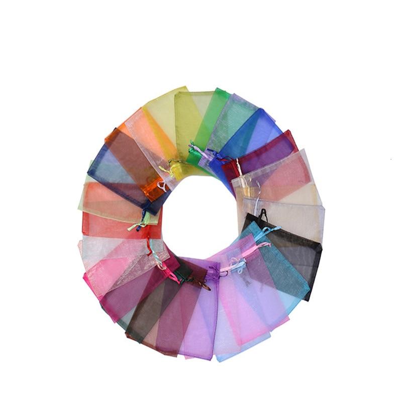 50pcs Organza Bags Delicate Solid Bags Cute 7x9cm 9x12cm 10x15cm 13x18cm Custom Logo Jewelry Kids Candy Package Newest Design