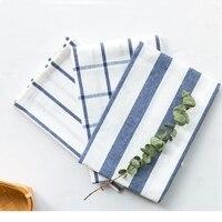 10pcs High Quality Table cloth Blue White Check Striped Tea Towel Kitchen Towel Table Napkin 100% Cotton Yarndye Fabric