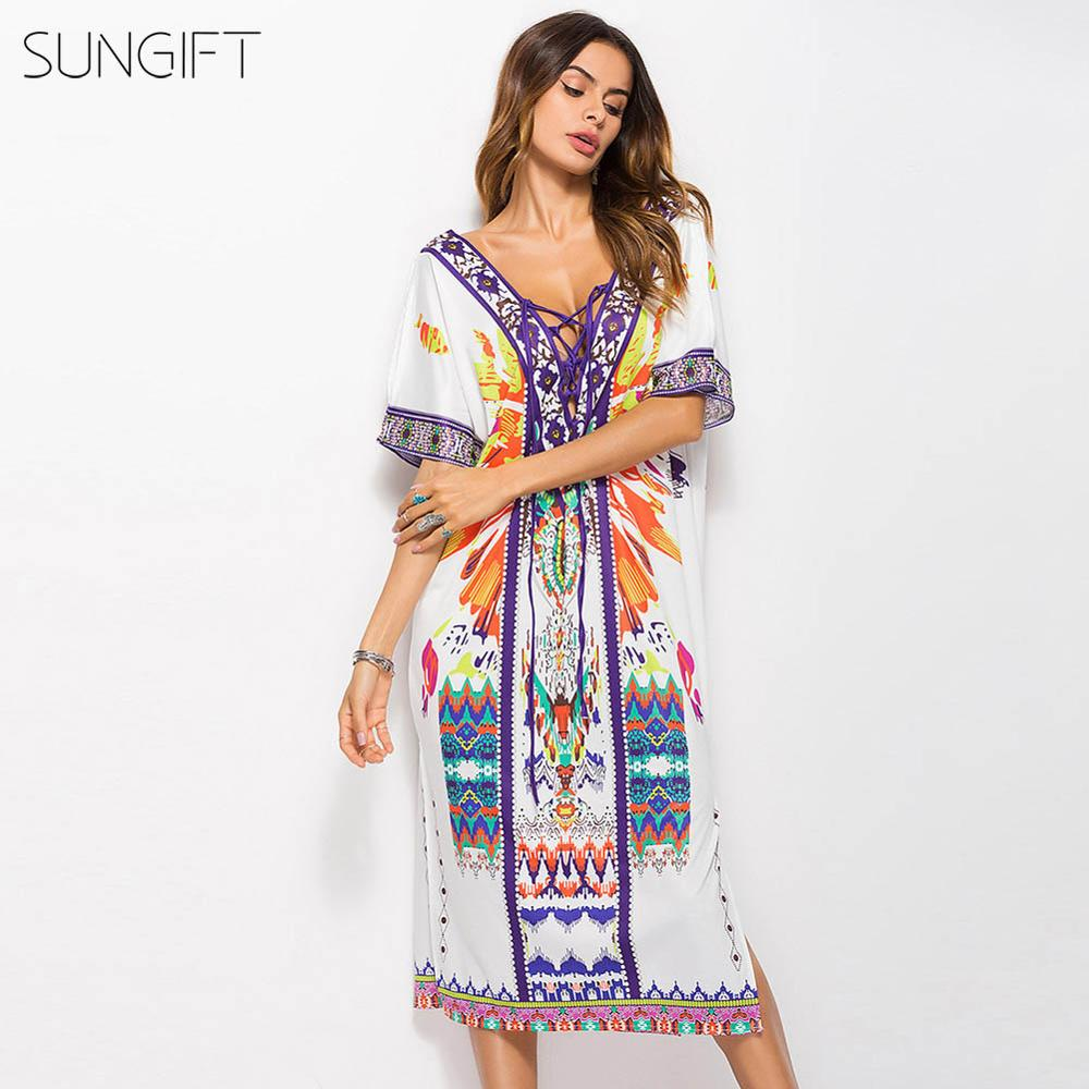 SUNGIFT Women African Printed Dashiki Dress For Summer Half Sleeve Casual Mini Sexy Dress Side Slit V-Neck Open Back 1 Piece