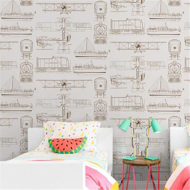 Beibehang style européen simple chambre d'enfants non-tissé papier peint garçon fille chambre avion dessin animé papier peint 3d plancher - 2