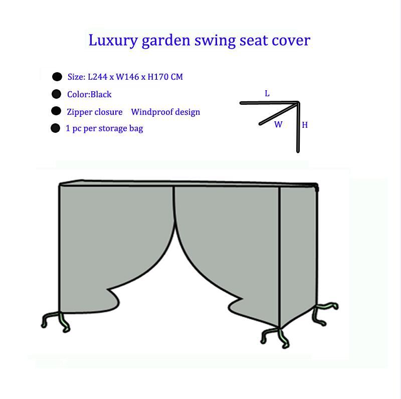 2019 couverture de siège de balançoire de jardin de luxe d'arrivée, L244XW146XH170CM, couleur noire, couverture de meubles d'utilisation extérieure et à la maison, fermeture à glissière