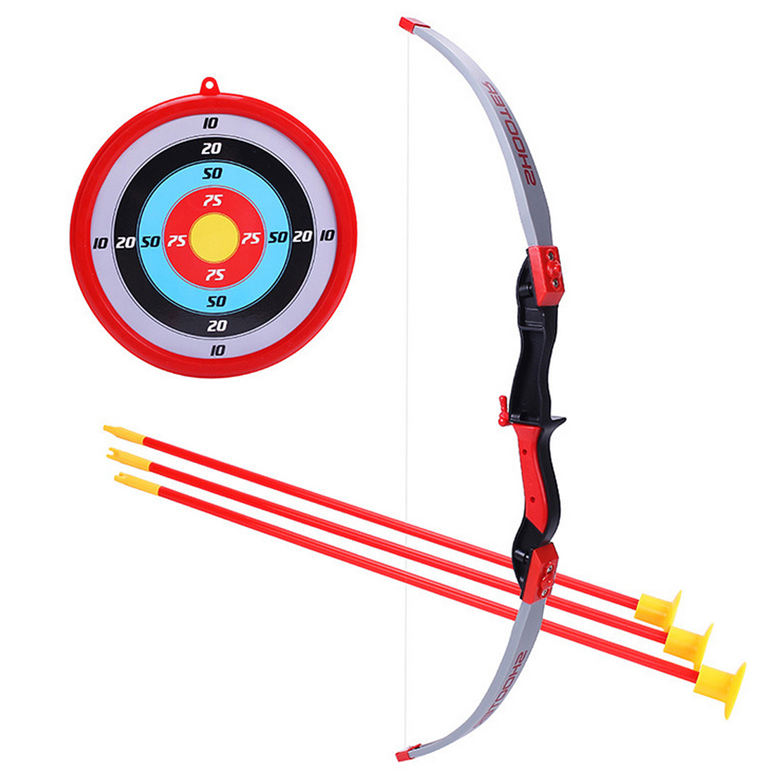 Children Plastic Bow Arrows Shooting Sports Toy Kids Shooting Game Toy with 1 Bow 3 Arrows and 1 Target