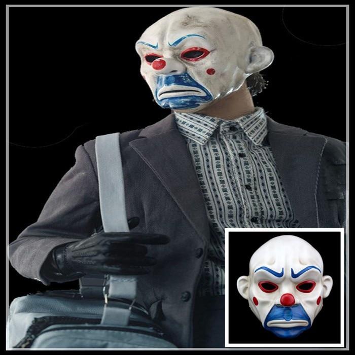 Hot Sale Adult Batman Joker Clown Bank Robber Mask Dark Knight Costume Halloween Masquerade Party Fancy Resin Mask Free Shipping