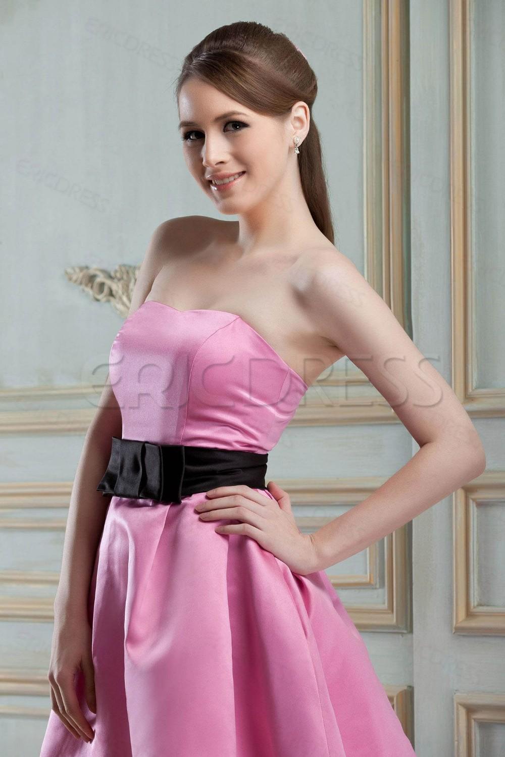 Dama de honor corto Simple vestidos de melocotón rosado sin tirantes ...