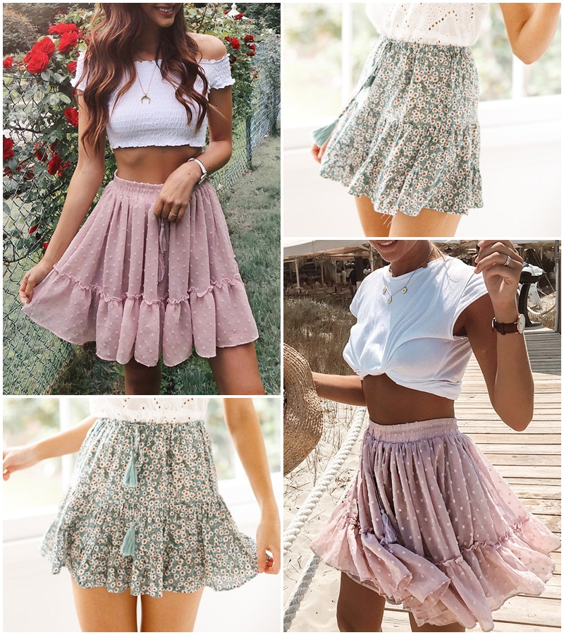 Simplee Casual polka dot mini women skirt High waist A line korean tassel pink summer skirt Sexy ruffle beach female skirts 19 12