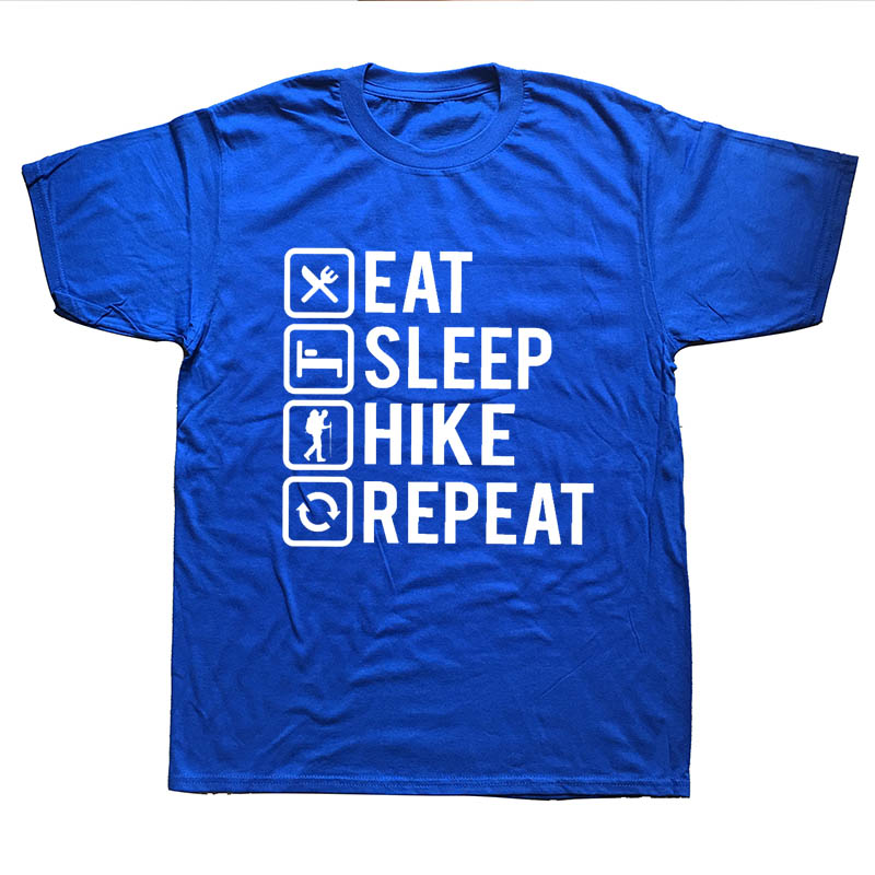 Mens Summer T Shirts Short Sleeve Funny Eat Sleep Hikes Repeat Hikings Top Funny Gift Birthday Men Cool T-Shirts