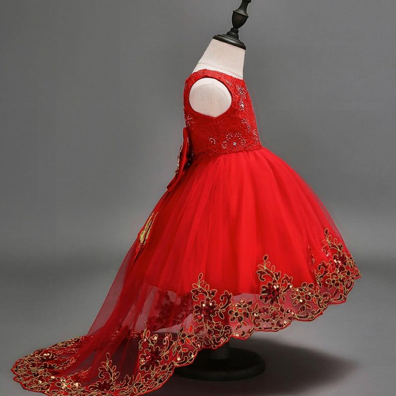 LCJMMO Flower Girl Dress Red Mesh Trailing Butterfly Girls Dama de - Ropa de ninos - foto 3
