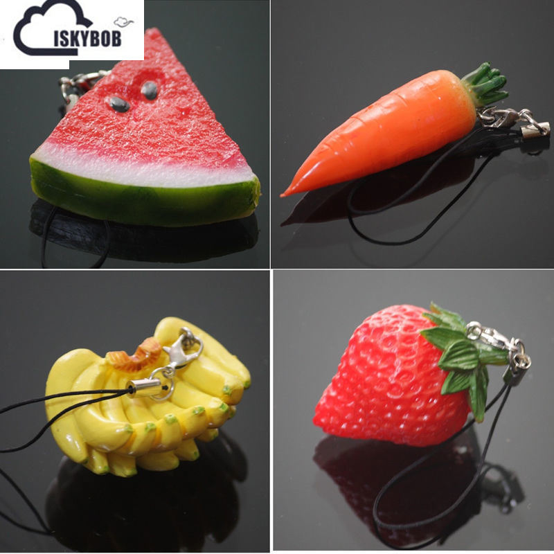 1PCS Cute Simulation fruit Cell Phone Charm Bag Strap Keychain Pendant Decor naughty cell phone charm strap with 1 hidden condom panda mask style assorted
