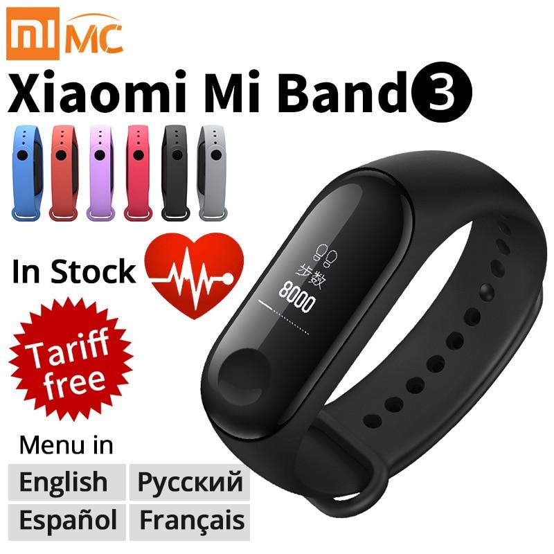 Origina Xiao mi mi fascia 3 Intelligente wristband Bracciale Fitness Mi Band 3 grande Touch screen Oled Messaggio Cuore tasso di Tempo Smartband