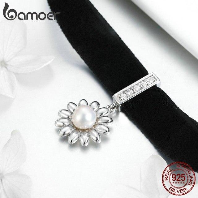 BAMOER MẠ Daisy Choker Vòng Đeo Cổ cho Nữ Đen Ngắn Lụa Choker Hoa Ngọc Trai Bạc 925 Trang Sức Hàn Quốc Phong Cách Trang Sức GAN009