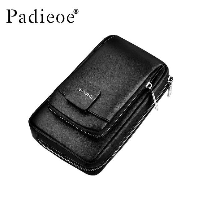 Padieoe Unisex Fashion Men and Women Messenger Bags Cross Body Shoulder Chest Bags Packs Genuine Leather Black