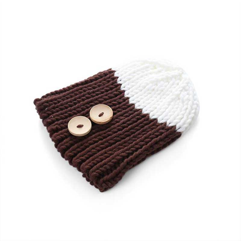 2017 new Fight color Baby Hats With Ears Cute Baby Toddler Kid Boys Girls Button Fur Ball Knitted Winter super Warm Hat Cap