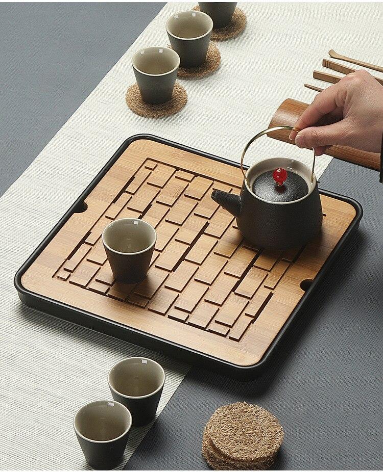 1PC Bamboo Tea Tray Drainage Water Storage Kung Fu Tea Set Room Board Table Chinese Tea Cup Ceremony Tools Tea Set MF 027