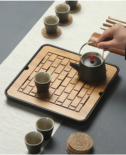 1PC Bamboo Tea Tray Drainage Water Storage Kung Fu Tea Set Room Board Table Chinese Tea Cup Ceremony Tools Tea Set MF 027