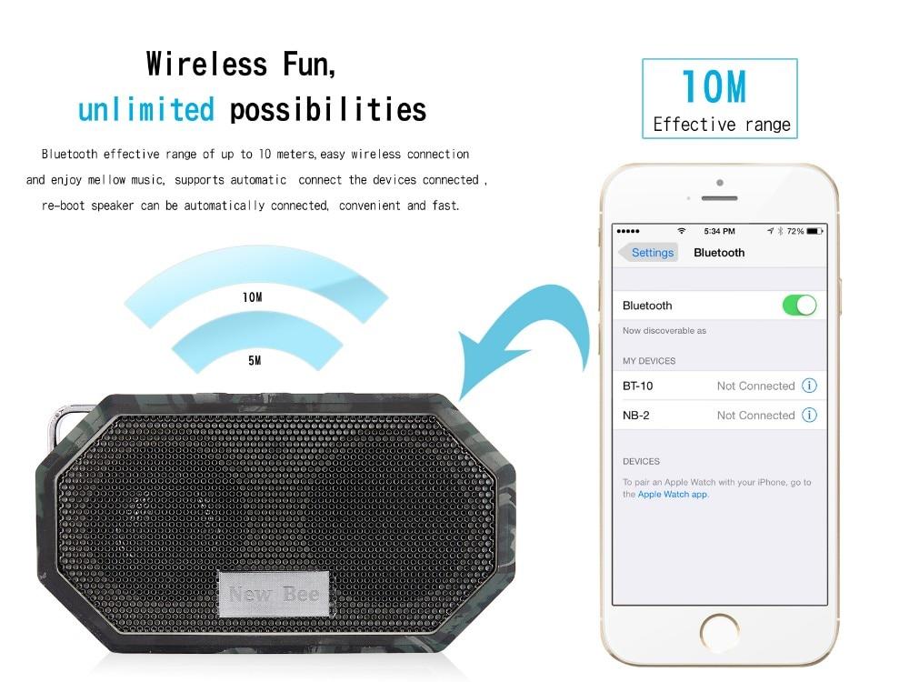 דבורה חדשה עמיד למים Bluetooth אלחוטית רמקול מיני סאב מקלחת נייד רמקולים ללא ידיים שיחה מיקרופון עבור הטלפון למחשב