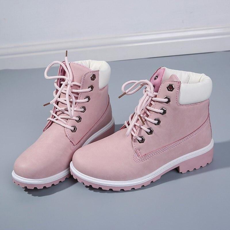 Compre Otoño Mujeres Botas Tamaño 9 10 Plataforma Rosa Mujeres Botines De Cuero Suave Con Cordones Zapatos De Mujer Botas Mujer A $35.18 Del