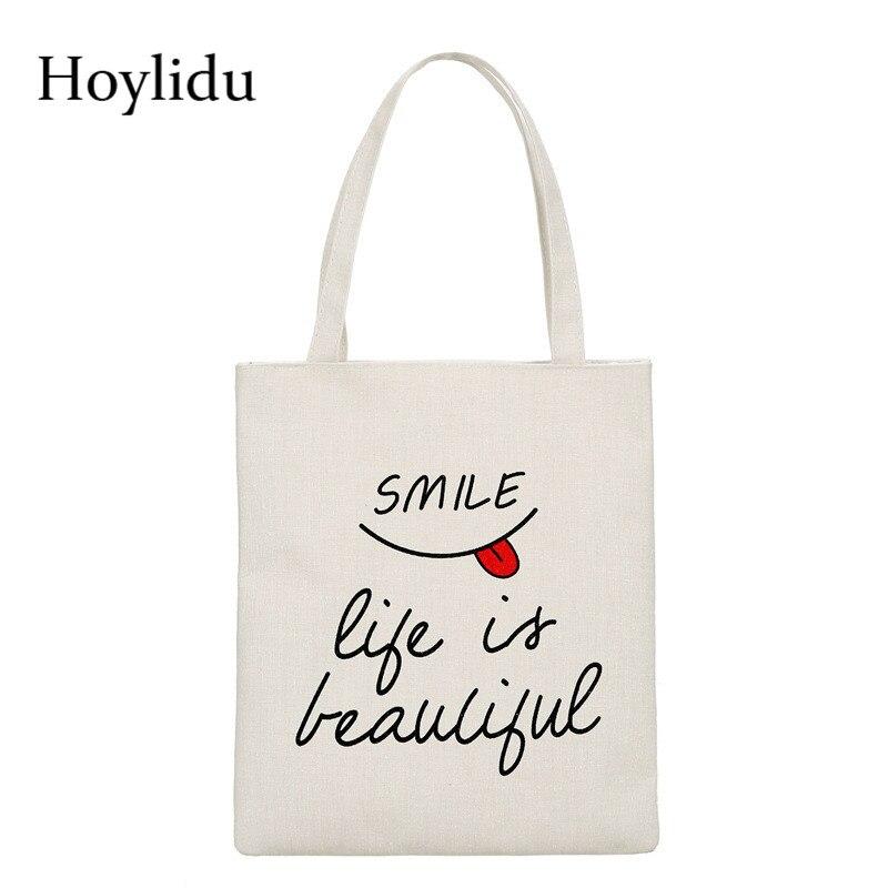 Reusable Shopping Bags Women Cloth Canvas Bag Large Capacity Foldable Eco Grocery Tote Bag Casual Female Shopper Fabric Handbag