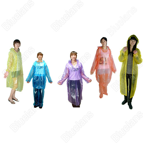 HOT 20 unids Al Por Mayor Desechable Emergencia Adulto Impermeable Impermeable Capucha Poncho Camping Plástico Impermeable