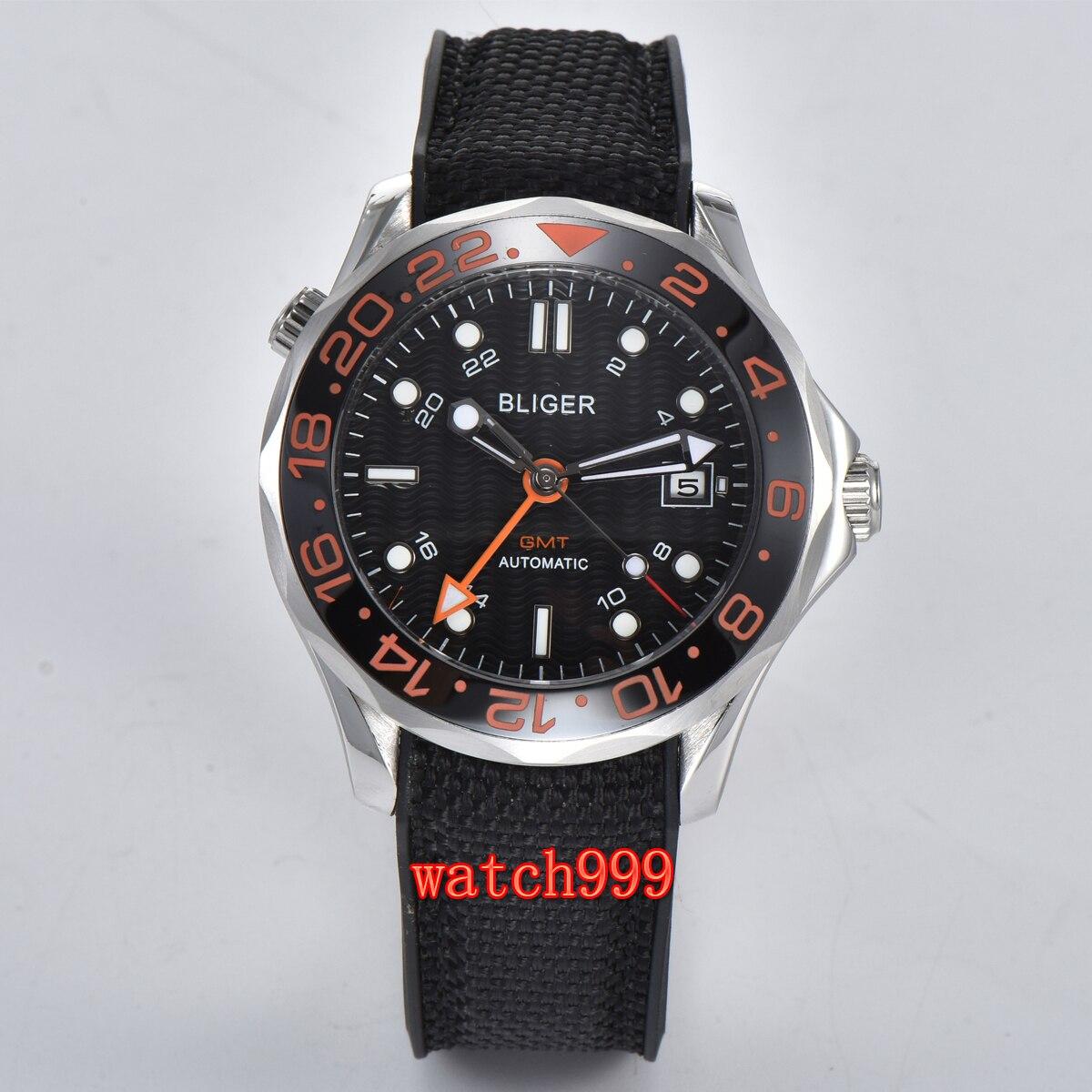 Bliger 41 millimetri sterile blu navy quadrante nero GMT vetro zaffiro automatico degli uomini casuale orologio da polso impermeabile orologio meccanico