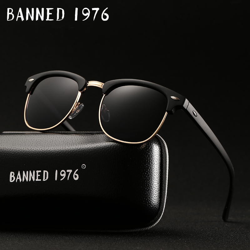 Das mulheres dos homens UV400 Polarizada HD óculos de Sol Clássico da moda retro óculos de Sol Da Marca Revestimento Unidade Shades gafas de Sol Masculino