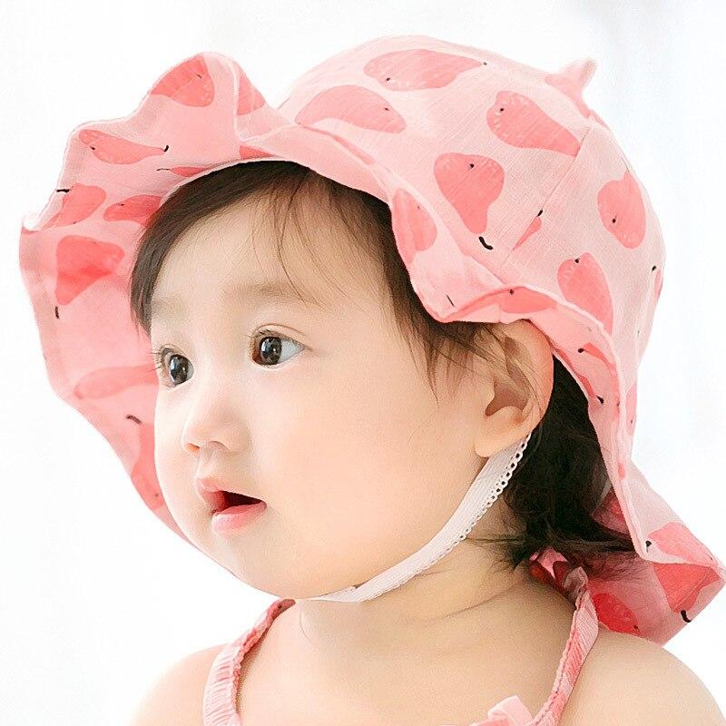 2018 New Brand fruits print baby sun caps hats Crochet Beanie girls newborn toddler infant bebe bonnet kids bucket cap 6-12m