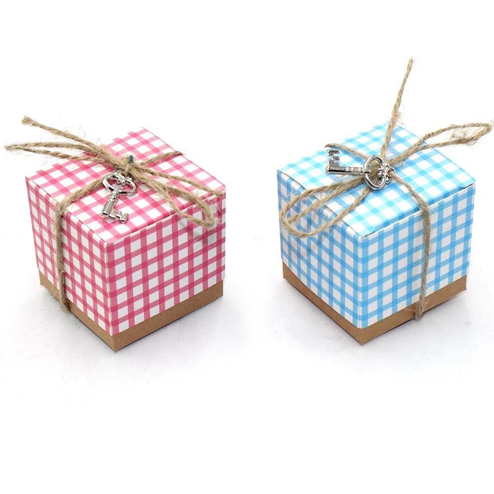 50Pcs Retro Lattice Kraft Paper Wedding Candy Boxes European Party ...