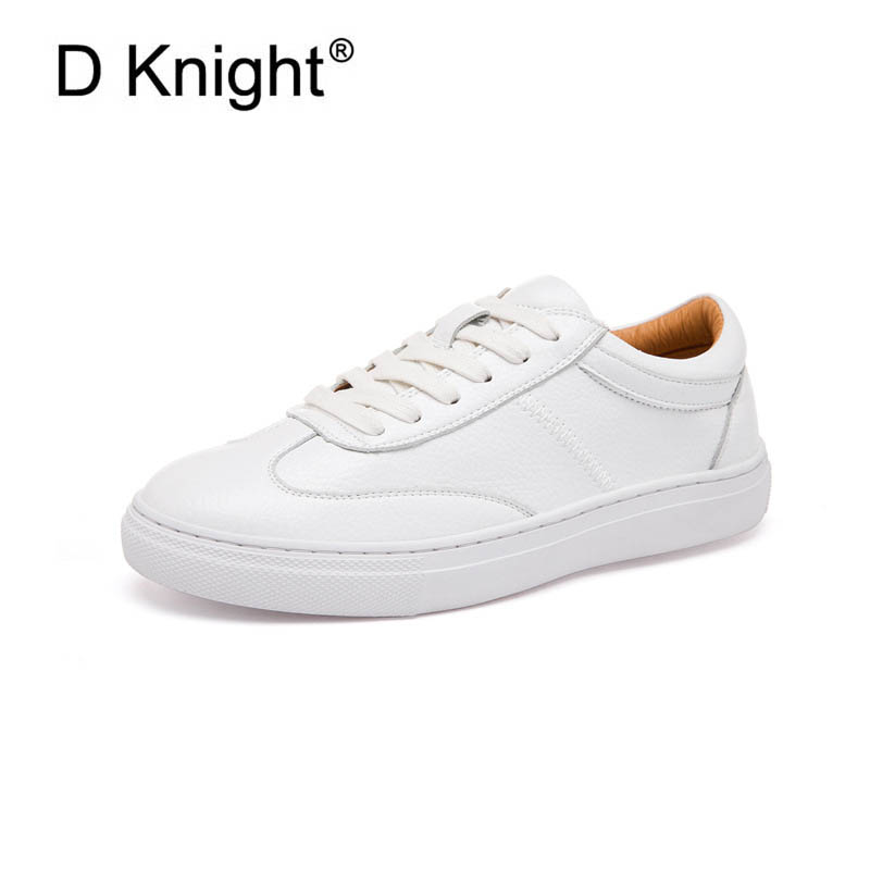New Genuine Leather Women Flats 2018 Spring Fashion Sneakers Women Causal Shoes with Lace-up Ladies White Flat Platform Shoes