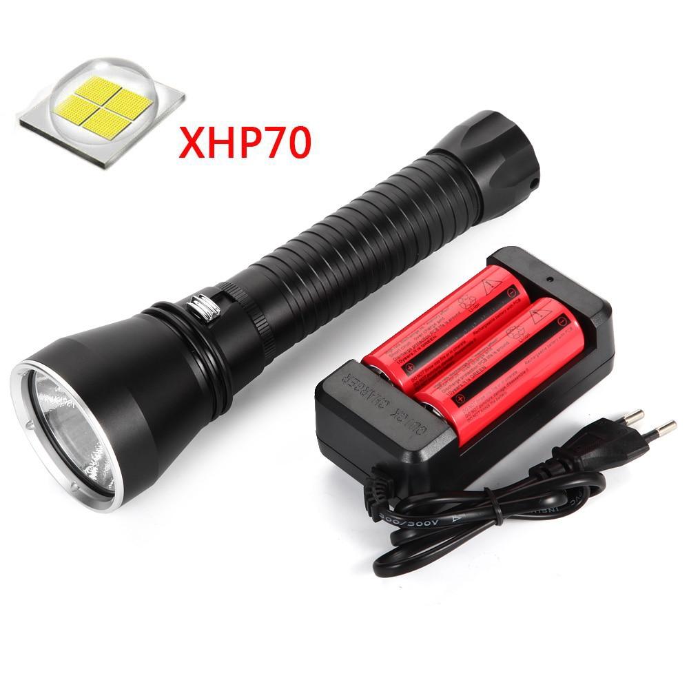 Lumière de plongée étanche 50 W XHP70 LED lampe de poche LED de plongée tactique 26650 18650 torche sous-marine 100 M lumière Flash