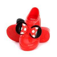 MINI Memon Children Shoes Bowkit Casual PVC Soft Leather Girls Shoes Slip On Short Waterproof Girls