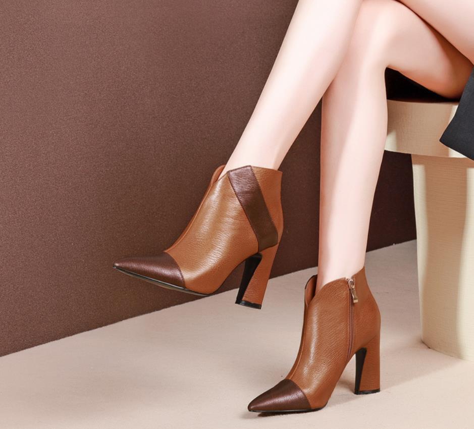 Absätzen Samtig Neue Stiefel Und Herbst Brown Hohen Spitzen Bold Martin Leder Mode Zusammengestellt rot Farben Mit Winter Y1SgSn7